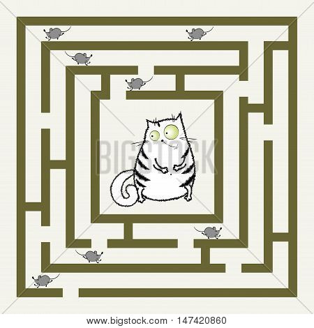 labyrinth with cat and mouses funny cartoon vector illustration