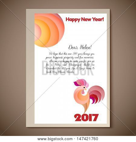 2017 Chinese New Year of the red Rooster. Vector Illustration. Silhouette pink rooster on white paper background. Template for Greeting, Congratulations, Invitations.