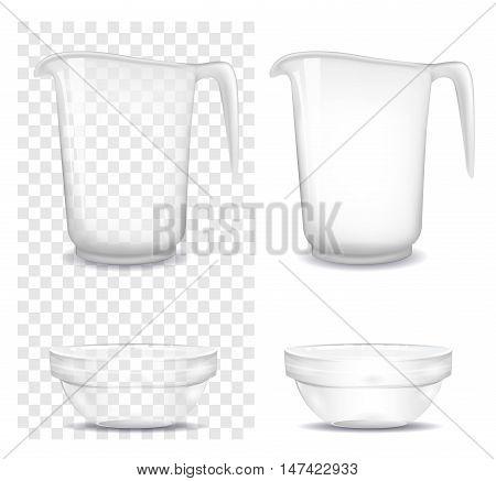 Transparent glass and jug. Vector illustration. Mock up