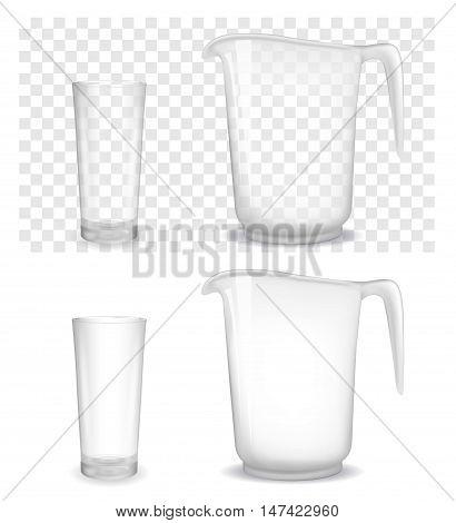 Transparent glass and jug. Vector 3d  illustration