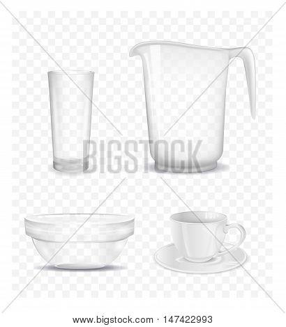 Transparent salad bowl jug cup and glass. Vector illustration