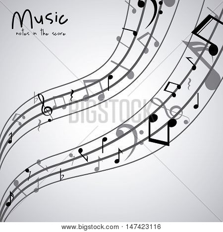 Isolated music note icon. Sound melody pentagram and musical theme. Vector illustration
