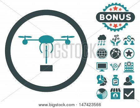 Copter Shipment icon with bonus images. Vector illustration style is flat iconic bicolor symbols, soft blue colors, white background.