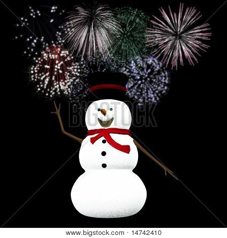 snowman celebrates Silvester