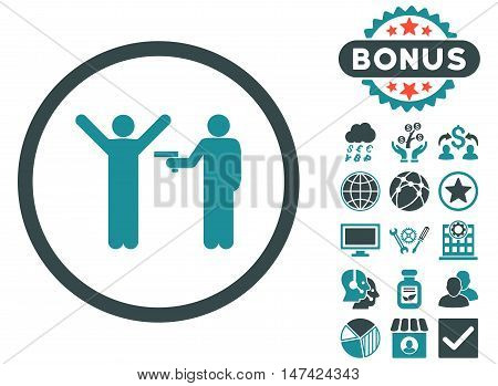 Crime icon with bonus pictures. Vector illustration style is flat iconic bicolor symbols, soft blue colors, white background.