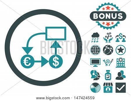 Currency Flow Chart icon with bonus symbols. Vector illustration style is flat iconic bicolor symbols, soft blue colors, white background.