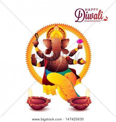 Creative illustration of Lord Ganesha with illuminated Oil Lamps (Diya) on white background for Indian Festival of Lights, Happy Diwali celebration.