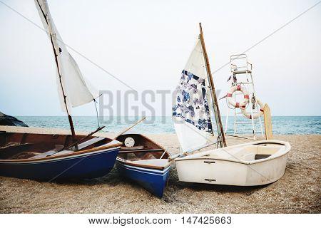 Sail Boats Sea Shore Lifesaver Flotation Life Buoy Concept