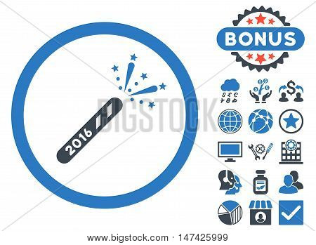 2016 Firecracker icon with bonus design elements. Vector illustration style is flat iconic bicolor symbols, smooth blue colors, white background.