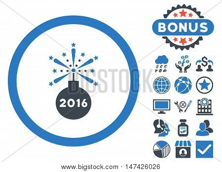 2016 Fireworks Detonator icon with bonus elements. Vector illustration style is flat iconic bicolor symbols, smooth blue colors, white background.