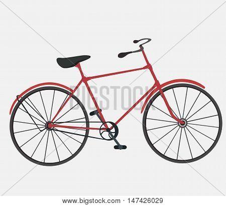 Flat bike illustration on white background. Bike. Bicycle. Cycling. Bicycling. Stylish bicycle. Vintage bicycle.