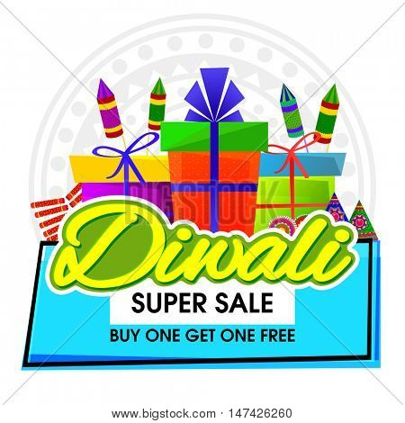 Diwali Super Sale Banner, Big Sale and Discount Flyer, Special Offer Poster, Creative background with colorful firecrackers and wrapped gift boxes for Indian Festival of Lights celebration.