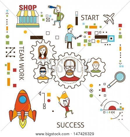 Business process flat design illustration white background