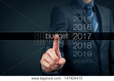 Businessman (accountant financial manager) plan budget for year 2017.