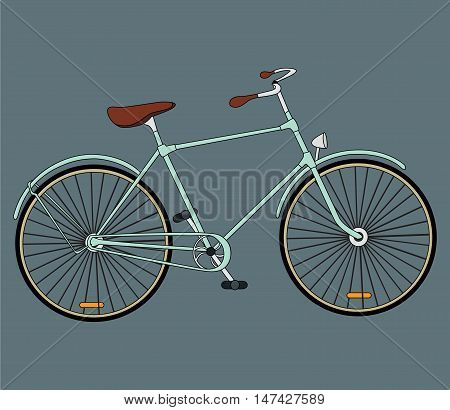 Retro bicycle. Vector illustration. Vector cool detailed illustration on retro vintagebicycle with front isolated