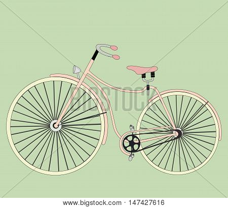 Cute vector retro bicycle for ladies . Ideal for scrap booking, post cards and wall decoration