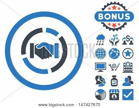 Acquisition Diagram icon with bonus pictogram. Vector illustration style is flat iconic bicolor symbols, smooth blue colors, white background.