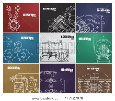 set of backgrounds with technical drawings by hand different color. A template for a web and the press. Vector illustration