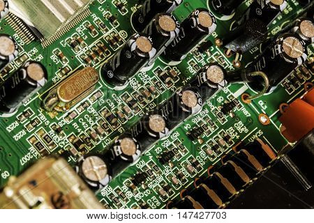 Close up of multi coloured electronic circuit board