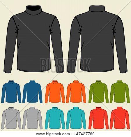 Set of colored turtlenecks templates for men.