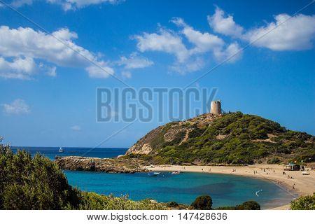 Torre de Chia bay Italy Sardinia with blue sky