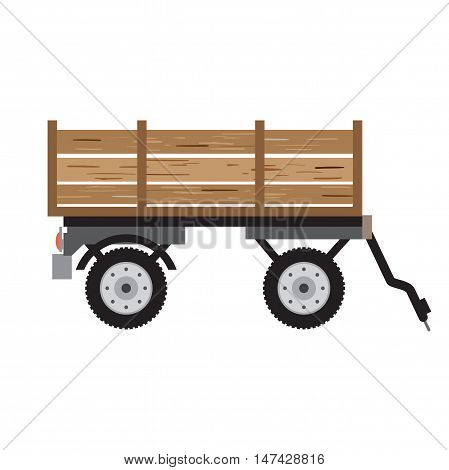 Tractor trailer for bulk materials. Agricultural machinery rural, equipment machine for farming, transport harvesting industry. Cartoon flat isolated vector illustration