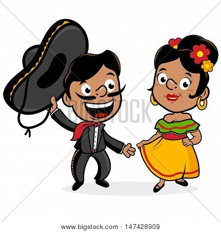 Mexican mariachi man and woman wearing a sombrero, and traditional clothing