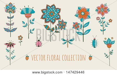 Vector floral collection with hand drawn flowers and insects
