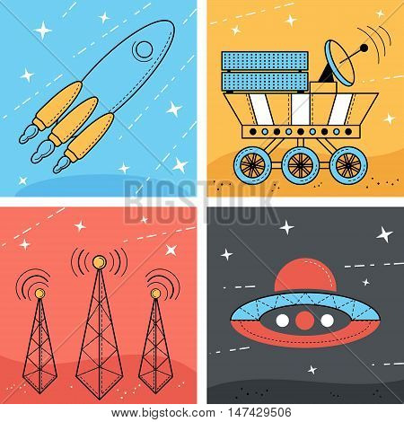 Set of 4 space illustration. Rocket and ufo in the space. Moonwalker and Antenna on the planet