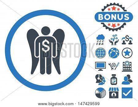 Angel Investor icon with bonus symbols. Vector illustration style is flat iconic bicolor symbols, smooth blue colors, white background.