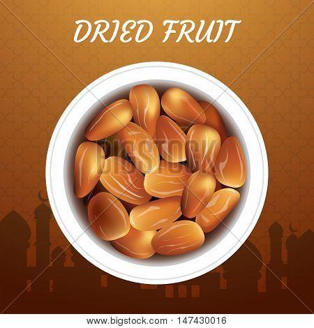 Dried date palm fruits or kurma ramadan food.Illustration of Eid Kum Mubarak
