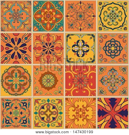 Vector seamless texture. Beautiful patchwork pattern for design and fashion with decorative elements. Set of Portuguese tiles Azulejo Talavera Moroccan ornaments
