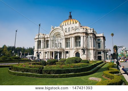 Metropolitan Cathedral and President's Palace in Zocalo, Center of Mexico City, Mexico.