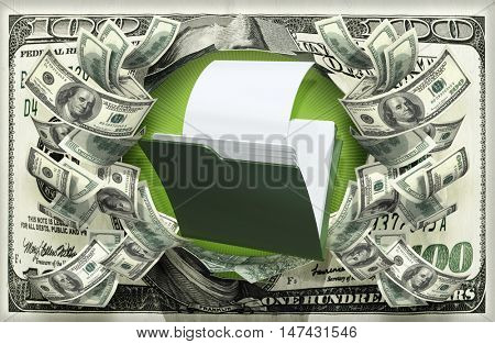 File With Money 3D Illustration
