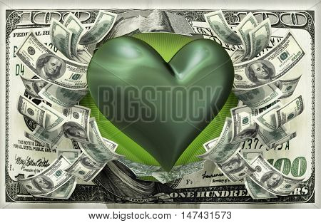 Heart With Money 3D Illustration