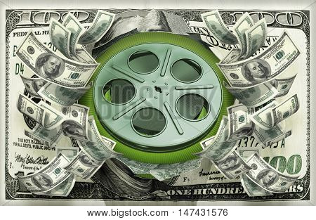 Film Reel With Money 3D Illustration