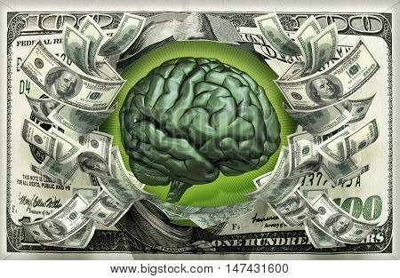 Brain With Money 3D Illustration