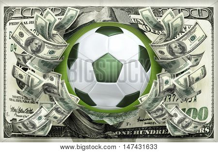 Soccer Ball With Money 3D Illustration