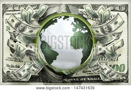 World With Money 3D Illustration