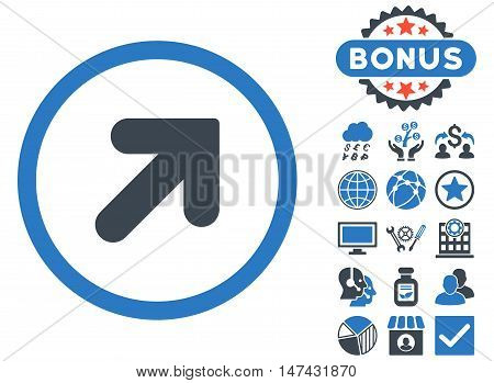 Arrow Up Right icon with bonus pictures. Vector illustration style is flat iconic bicolor symbols, smooth blue colors, white background.