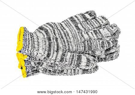 Black and White cotton gloves isolated on white background.