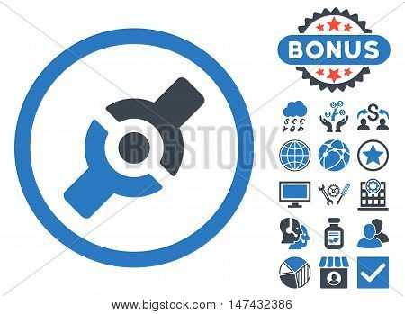 Artificial Joint icon with bonus images. Vector illustration style is flat iconic bicolor symbols, smooth blue colors, white background.