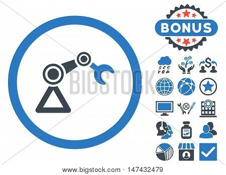 Artificial Manipulator icon with bonus elements. Vector illustration style is flat iconic bicolor symbols, smooth blue colors, white background.