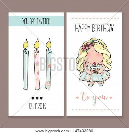 happy birthday card set in cute doodle style. little girl holding cake. blue and pink color. princess with birthday cupcake. Romantic Invitation announcement for little girl