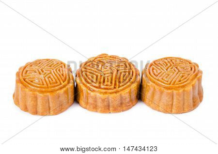 The Moon cake isolated on white background.