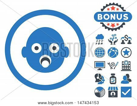 Baby Head icon with bonus elements. Vector illustration style is flat iconic bicolor symbols, smooth blue colors, white background.