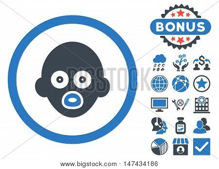 Baby Head icon with bonus symbols. Vector illustration style is flat iconic bicolor symbols, smooth blue colors, white background.