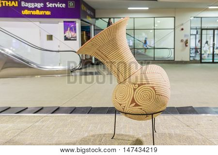 Udornthani Thailand - Aug 19 2016 : The replica of Ban Chiang earthenware demonstrated at Udornthani International airport