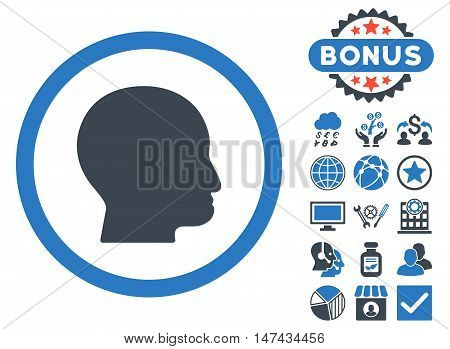 Bald Head icon with bonus images. Vector illustration style is flat iconic bicolor symbols, smooth blue colors, white background.