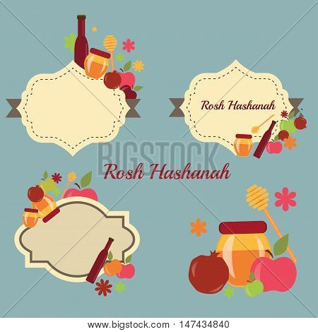 Collection of labels and elements for Rosh Hashanah. Rosh Hashanah vector greeting card design for Jewish New Year. Rosh Hashanah celebration hashanah. Rosh Hashanah jewish new year greeting card set.